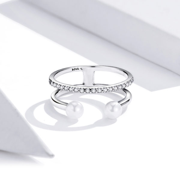 Inel din argint Pave Band Pearls